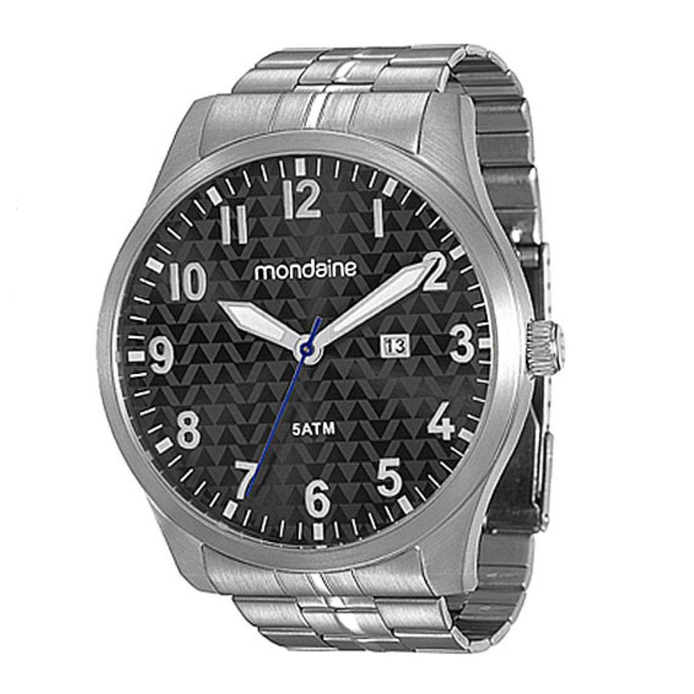 Relógio MONDAINE 78651G0MVNA1 Prata - Mostrador Escuro com Detalhes