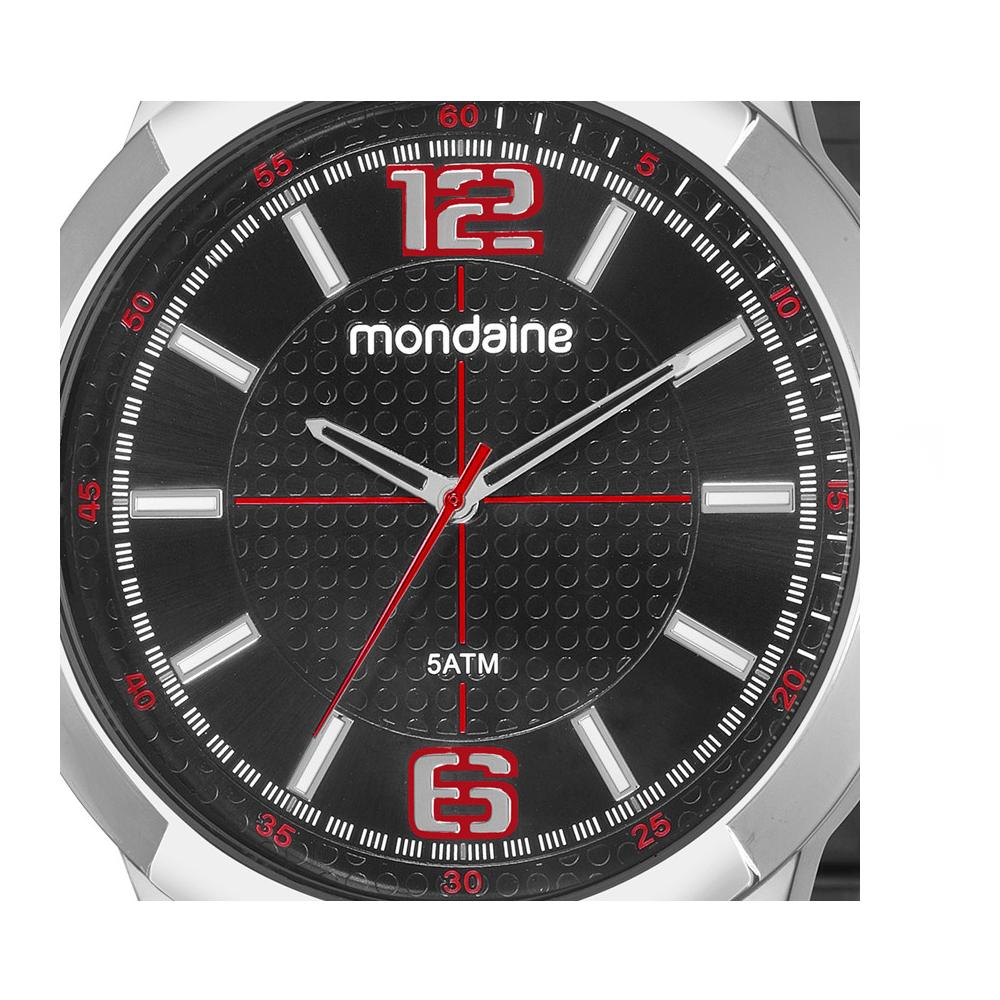 Relógio MONDAINE 99362G0MVNE1 prata com mostrador preto e detalhe vermelho
