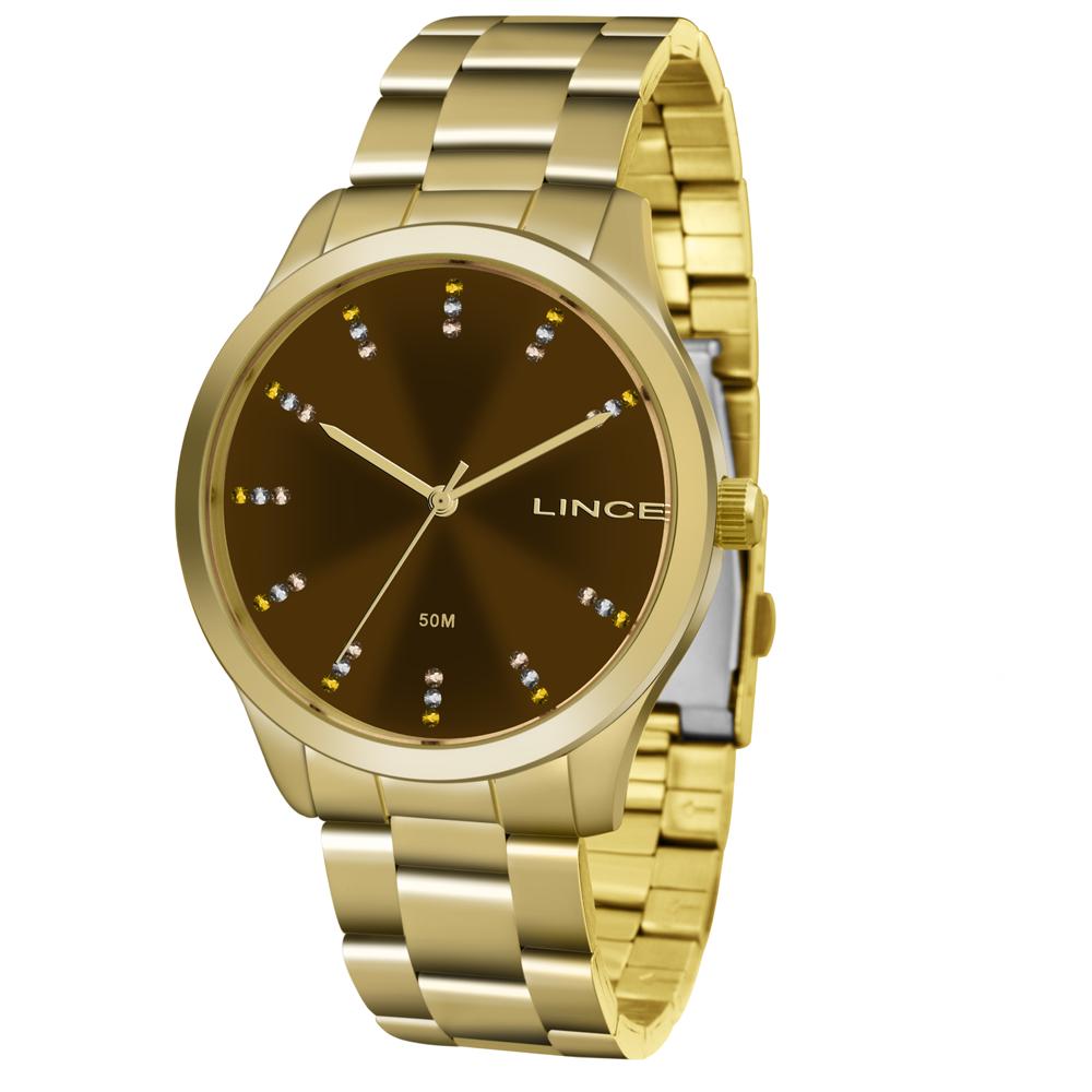 Relógio LINCE Analógico LRG445L M1KX Dourado - Marrom