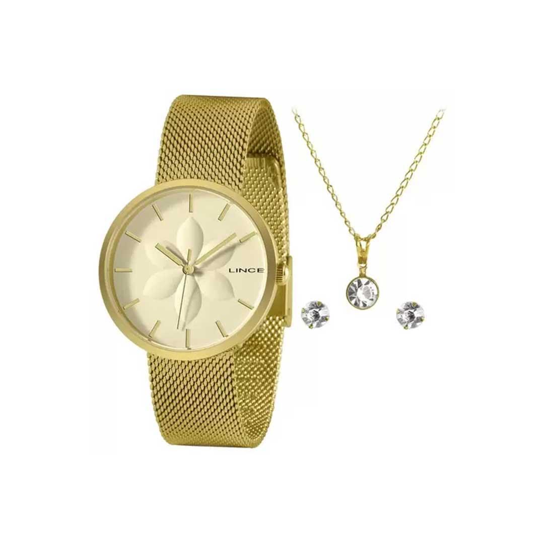 Relógio lince Feminino LRGH154L KZ74 com Kit Colar + Brinco