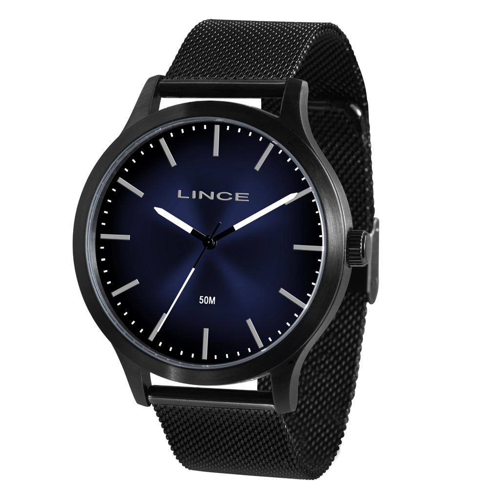 Relógio Orient MRN4602S D1PX Preto Fundo Azul  - Pulseira estilo Esteira