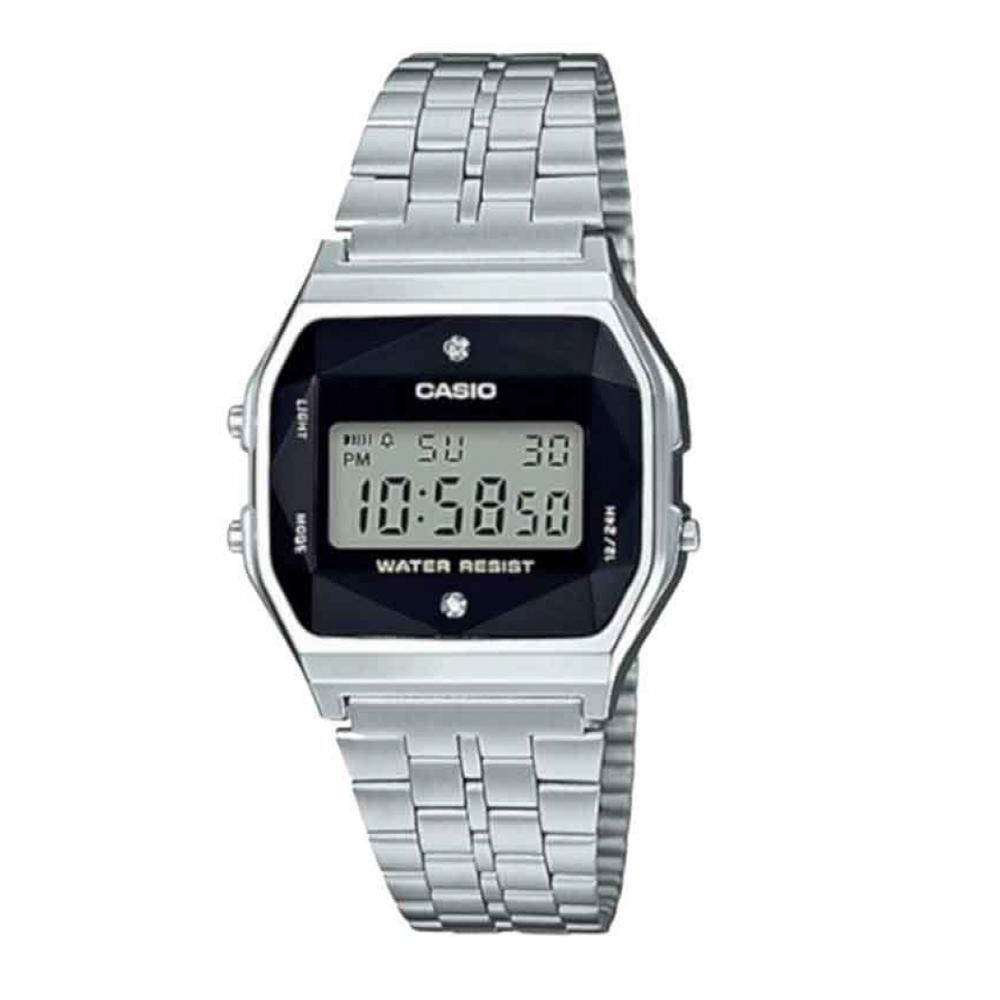 Relógio CASIO Vintage  A159WAD-1DF Prata - Com Diamantes Naturais