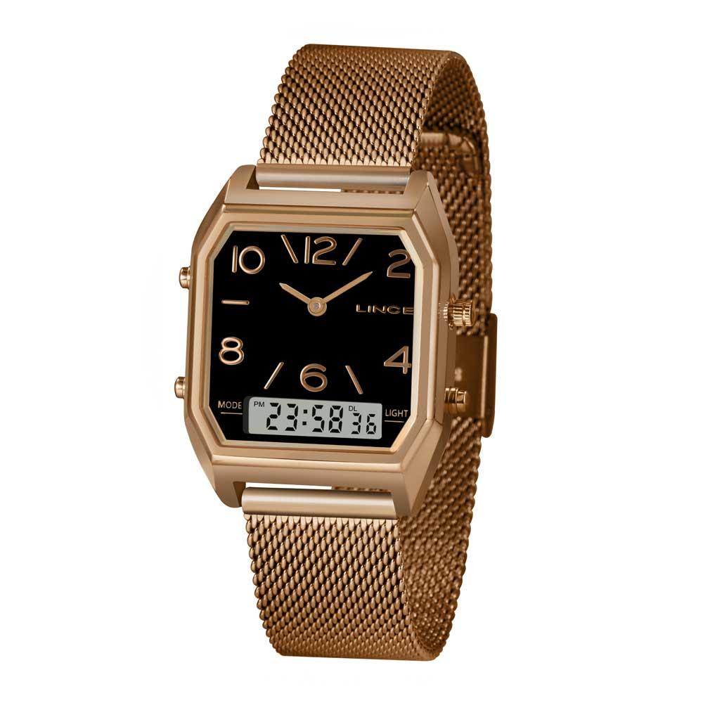 Relógio LINCE ANADIGI LARH118L P2RX Rosê Fundo Preto