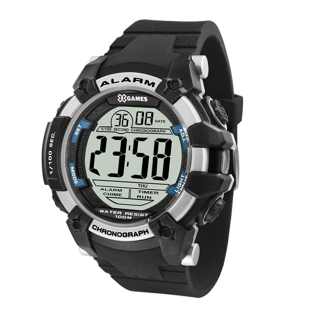 Relógio X-GAMES XMPPD542 BXPX Masculino Preto - Prata e detalhes Azul