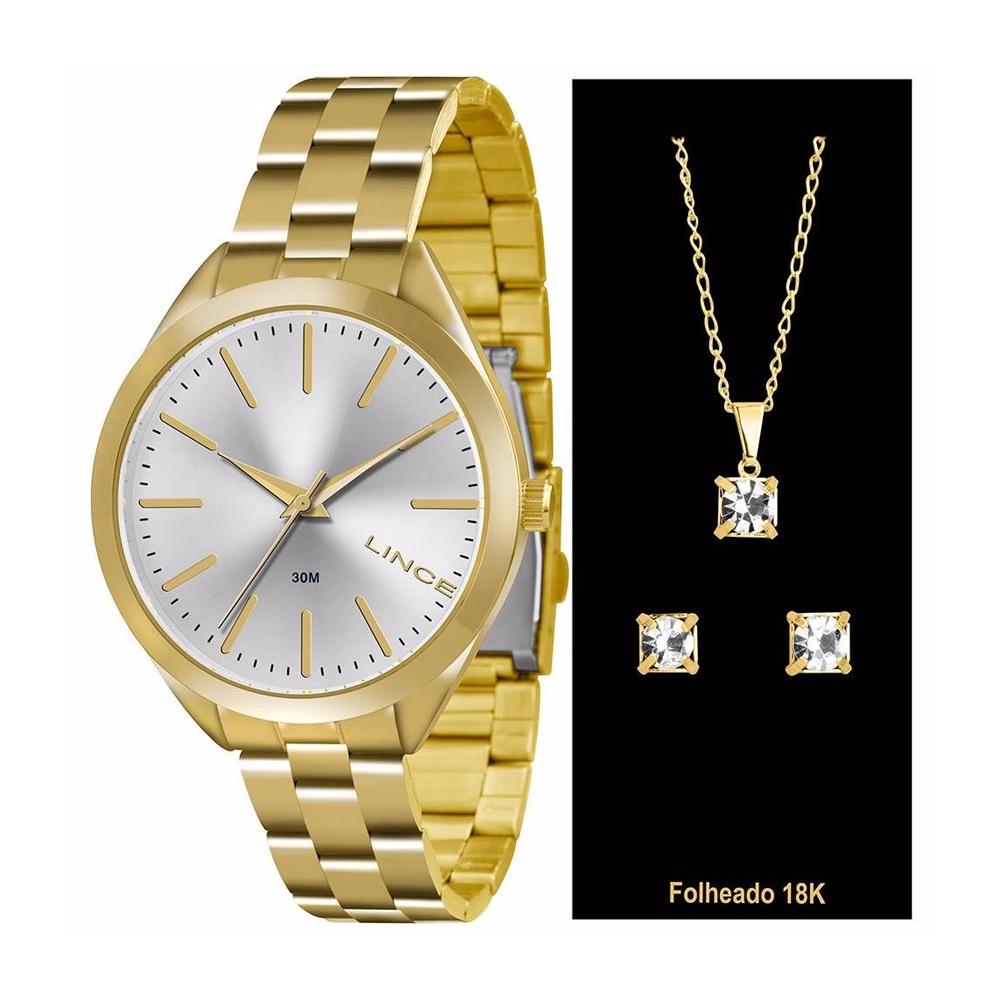 Relógio LINCE LRG4329L K136 Dourado - Analógico com KIT Brinco + Colar