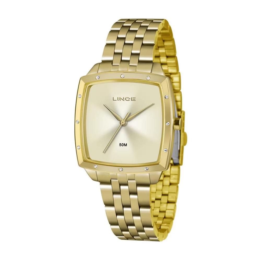 Relógio LINCE LQG620L C1KX Dourado com fundo claro e detalhe com pedra