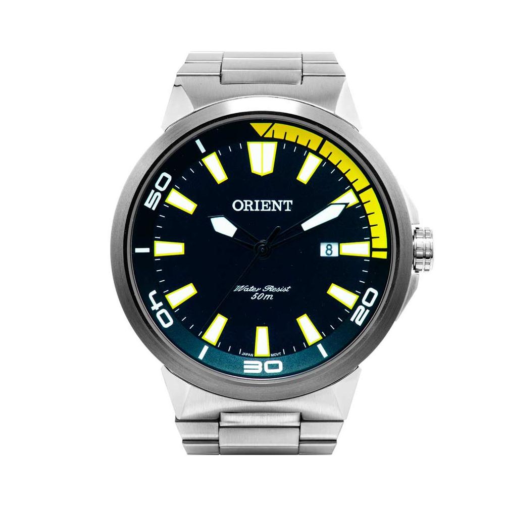 Relógio ORIENT MBSS1197A PYSX Prata, Mostrador Preto - Detalhe Amarelo e Calendário