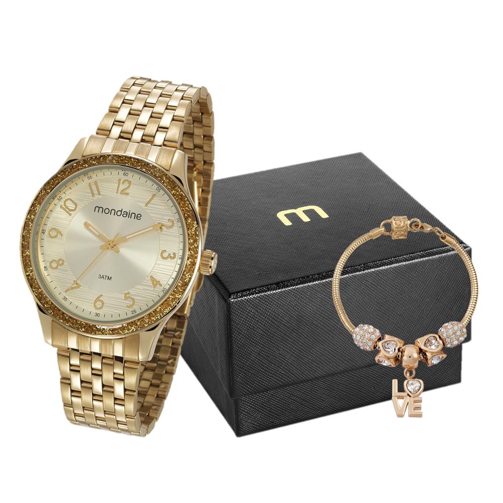 Relógio MONDAINE 53649LPMVDE1 Dourado - Fundou Dourado - Gliter