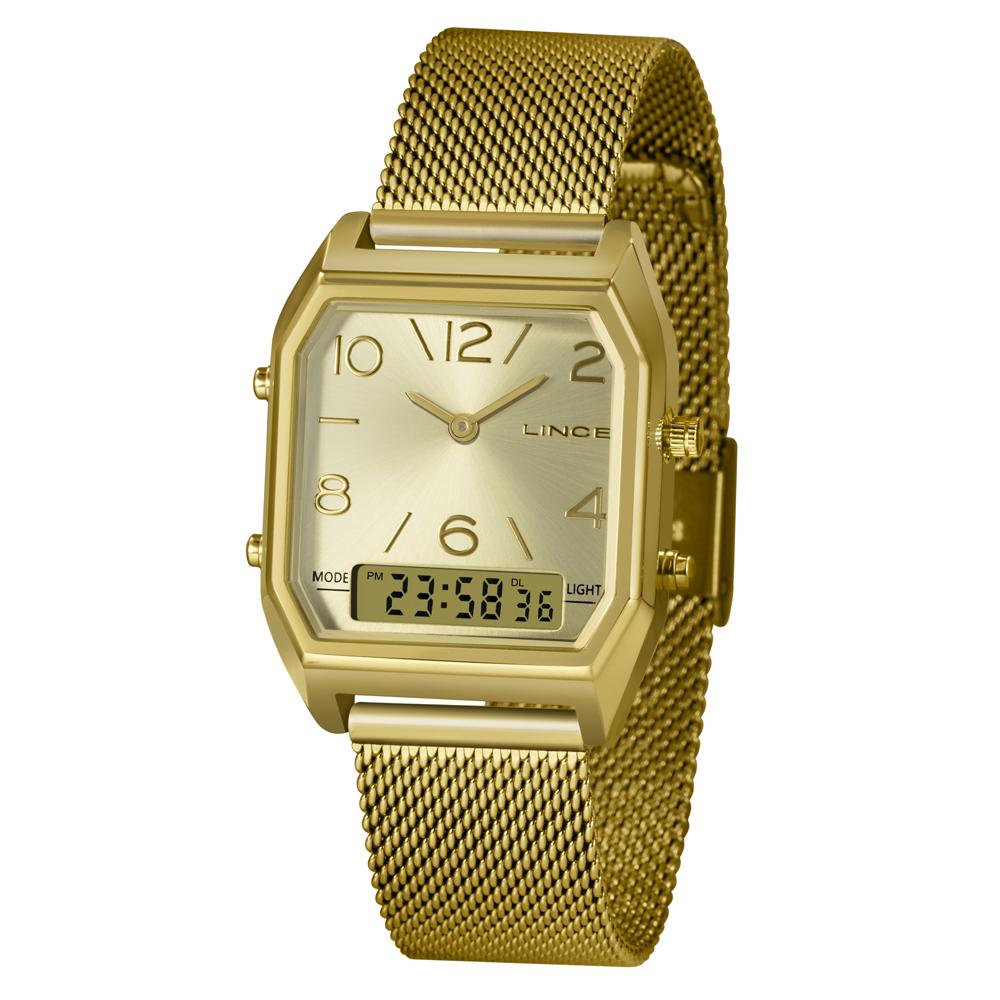Relógio Lince LAGH119L C2KX - Dourado - Pulseira Estilo Esteira