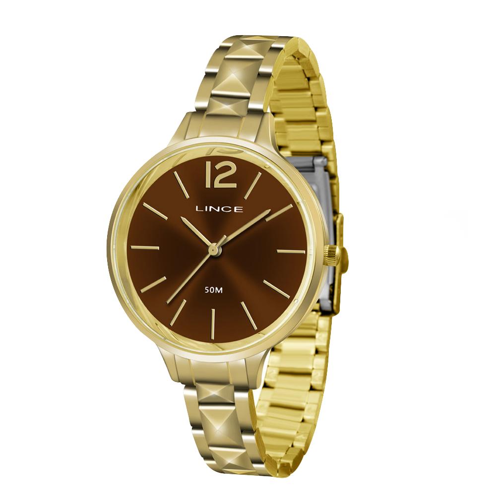 Relógio LINCE LRGH066L M2KX Dourado com fundo marrom