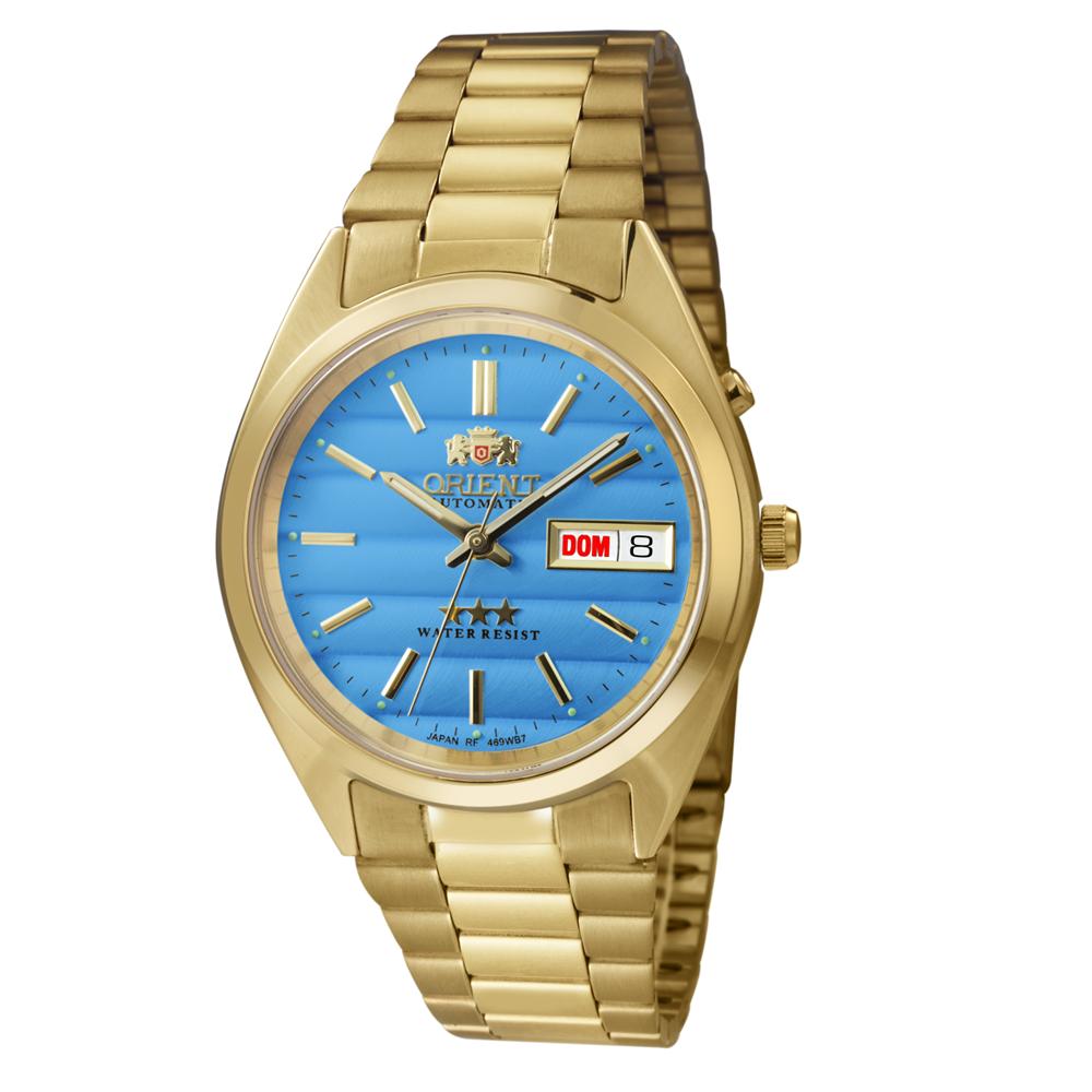 Relógio ORIENT Automático 469WC2F D1KX Dourado com fundo Azul