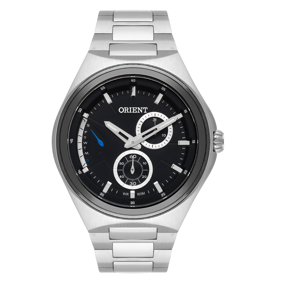 Relógio ORIENT MBSSM085 P1SX Prata Fundo preto - Data e dia da semana