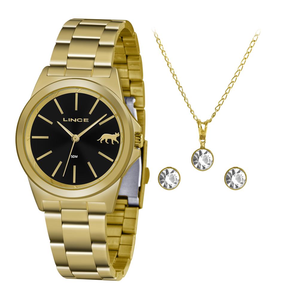 Relógio LINCE Analógico LRGH125L KX26 Dourado Kit Colar + Brinco