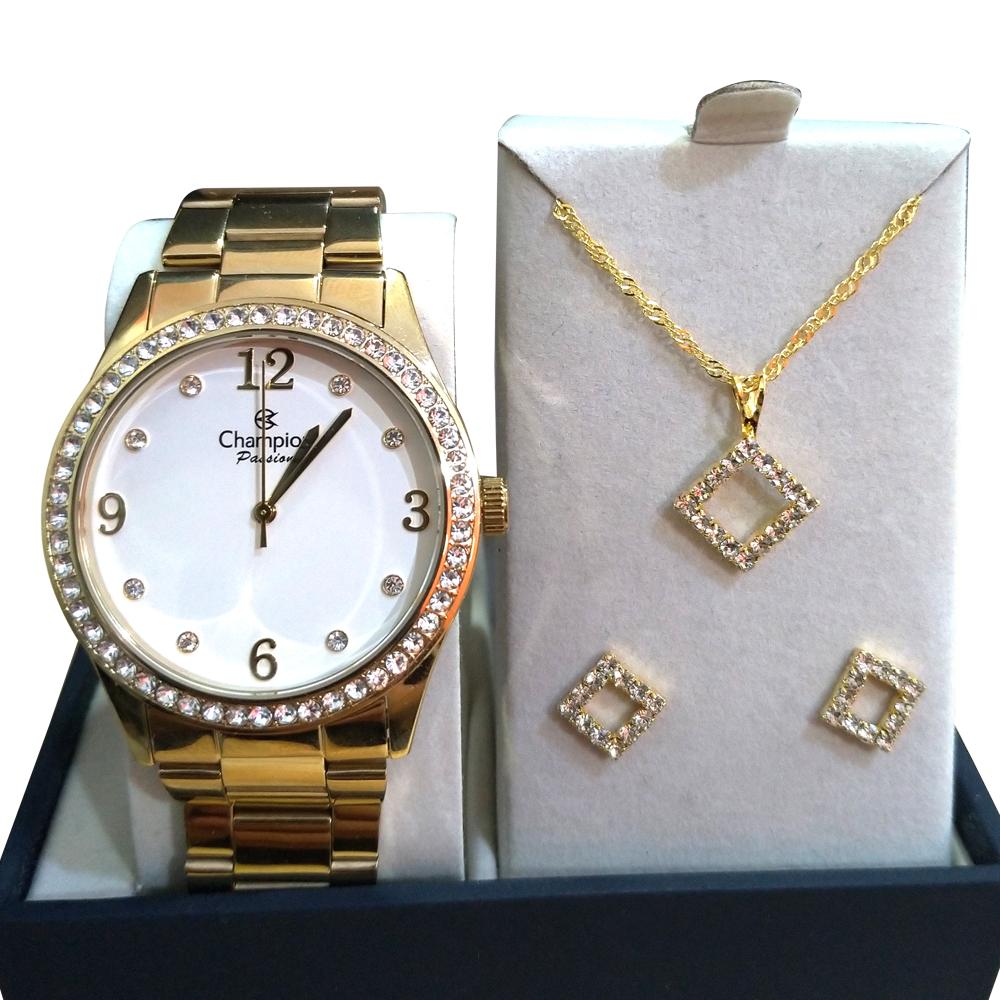 Relógio CHAMPION CN28893W Dourado com fundo Claro - Com Pedras, KIT com Colar+ Brinco