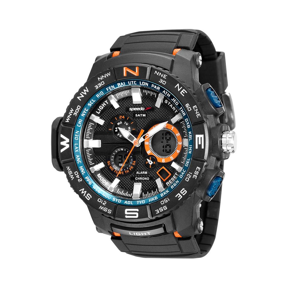 Relógio SPEEDO 81118G0EVNP3 Analógico e Digital Preto - Detalhes azuis e Alaranjados