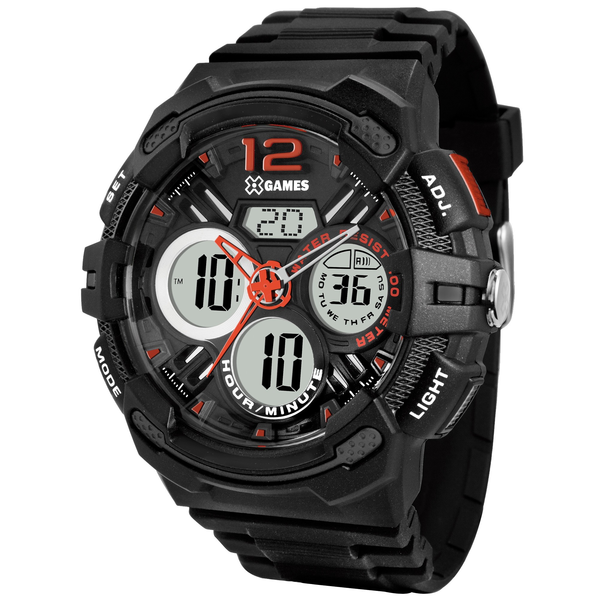 Relógio XGAMES XMPPA124 P2PX ANADIGI - Preto/Laranja