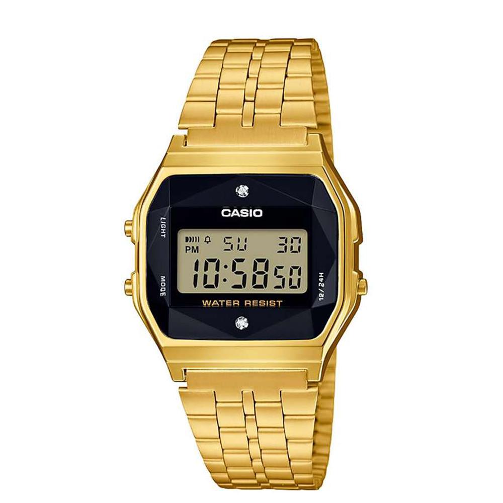 Relógio CASIO Vintage  A159WGED-1DF Dourado Fundo Preto - Com Diamantes Naturais
