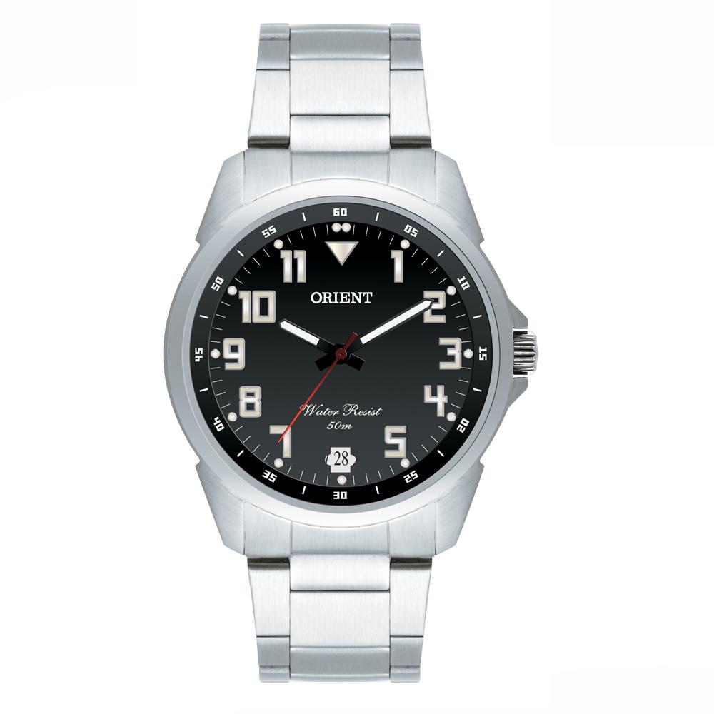 Relógio ORIENT MBSS1154A P2SX Analógico Prata - Fundo Preto