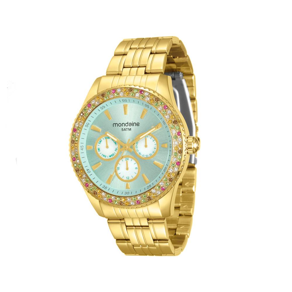 Relógio MONDAINE 78731LPMVDA2 Dourado com Pedras Coloridas