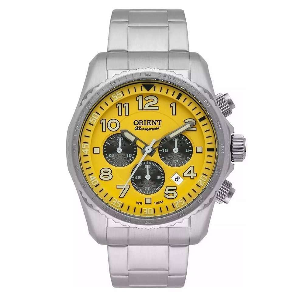 Relógio ORIENT MBSSC148 Y2SX Masculino Prata com Mostrador Amarelo