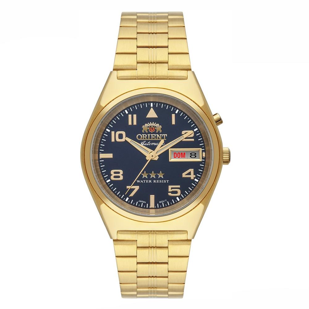 Relógio ORIENT 469GP083 D2KX Automático Dourado - Fundo Azul