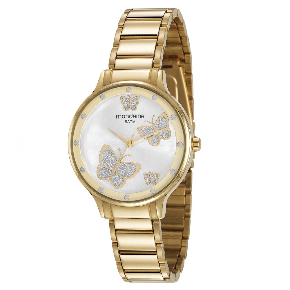Relógio MONDAINE 53628LPMVDE1 Analógico Dourado - Feminino