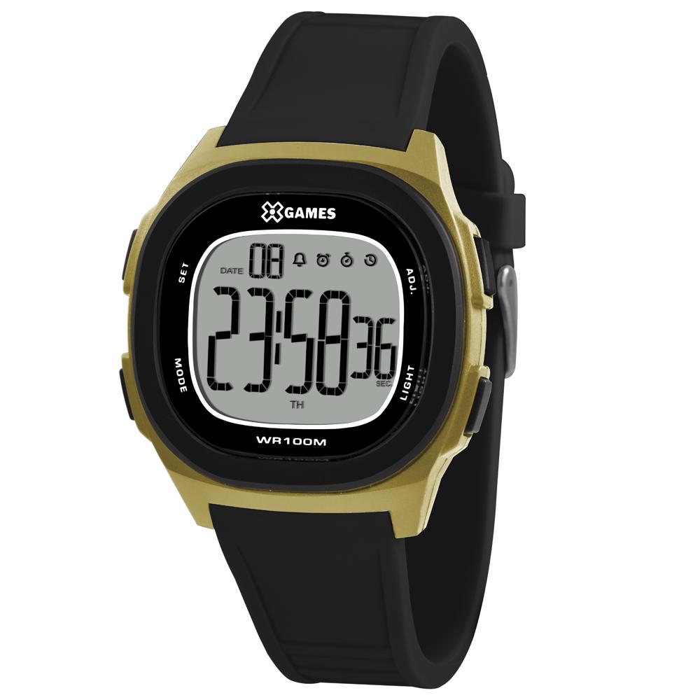 Relógio X_GAMES XGPPD125-BXPX Preto com Dourado
