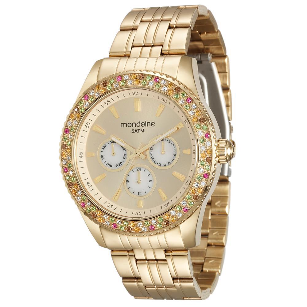 Relógio MONDAINE 78731LPMVDA1 Dourado com Pedras coloridas
